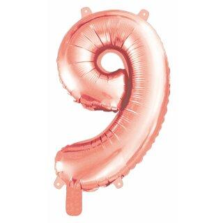 """Folienballon, Ziffer """"9"""", roségold und silber"""