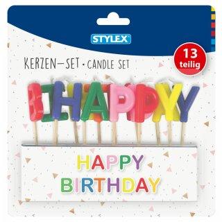 Kerzen, Happy Birthday, 13-teilig