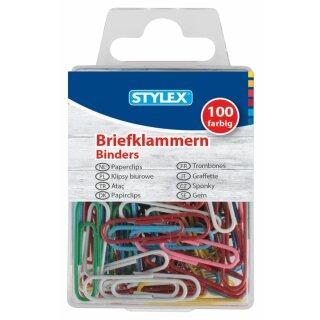 Briefklammern, Metall, farbig, 100er Schachtel
