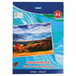 Aquarellblock DIN A3, 185 g/m², 24 Blatt
