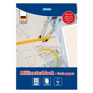 Millimeterblock, DIN A4, 20 Blatt