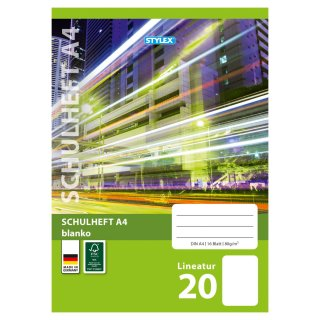 Schulheft, Lineatur 20, DIN A4, 16 Blatt, FSC