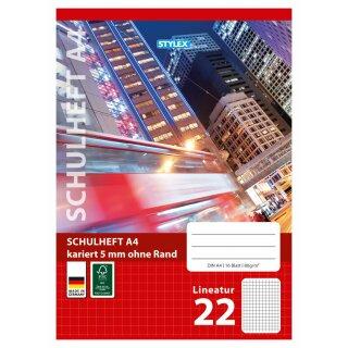 Schulheft, Lineatur 22, DIN A4, 16 Blatt, FSC