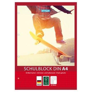 Schulblock, Lineatur 28, DIN A4, 50 Blatt, gelocht, kariert, FSC