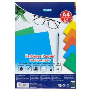 Farbiges Papier, DIN A4, intensiv, 40 Blatt, FSC
