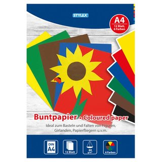 Buntpapier, DIN A4, 80 g/m², 12 Blatt in 6 Farben