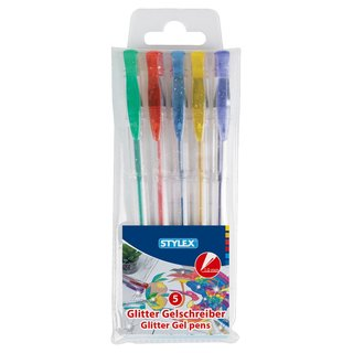 Gelschreiber, Glitter, 5 Stück, farbig sortiert im Etui