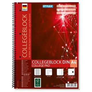 Collegeblock, Spirale, Lineatur 28, DIN A4, 80 Blatt, kariert, FSC
