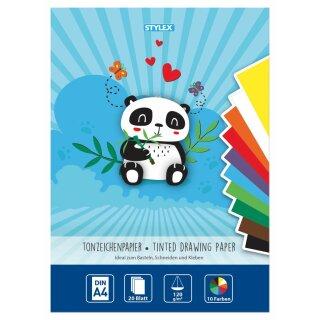 Tonzeichenpapier, DIN A4, 110 g/m², 20 Blatt in 10 Farben