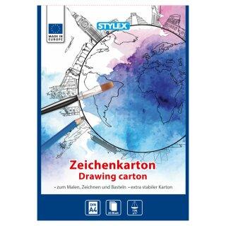 Zeichenkartonblock, DIN A4, 190 g/m², 20 Blatt