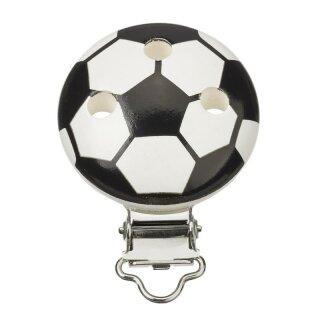 Schnulli-Ketten Clip Fussball 37 mm/11,5 mm, schwarz/weiss, Btl. à 1 St.