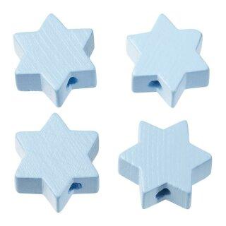 Schnulli-Stern 19,5 x 19,5 x 8 mm, DL 3 mm, hellblau, Btl. à 4 St.