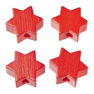 Schnulli-Stern 19,5 x 19,5 x 8 mm, DL 3 mm, rot, Btl. à 4 St.
