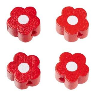 Schnulli-Blümchen 16 x 15,5 x 8 mm, DL 3 mm, rot, Btl. à 4 St.