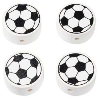 Schnulli-Fussball 20 x 10 mm, DL 3 mm, schwarz/weiss, Btl. à 4 St.