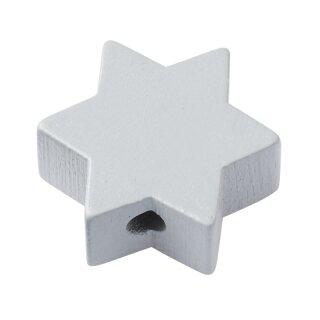 Schnulli-Stern, 19,5 x 19,5 x 8 mm, DL 3 mm, grau, Btl. à 4 St.