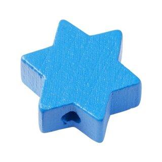 Schnulli-Stern, 19,5 x 19,5 x 8 mm, DL 3 mm, blau, Btl. à 4 St.