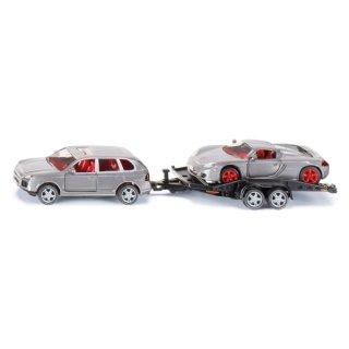 Siku 2544, PKW mit Transport-Anhänger und Sportwagen, 1:55, Metall/Kunststoff, Silber/Grün, Kippbare Ladefläche (ABVK)