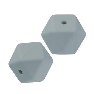 Schnulli-Silikon Perle sechseck 14 mm, grau, Btl. à 3 St.