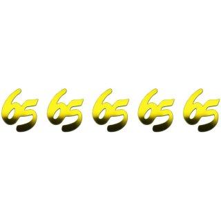 """Jubiläumszahlen """"65""""  25g p.SB-Btl. -gold-,"""