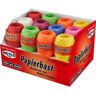 Papierbast- Displaybox -bunt sortiert- 24 Stück, 3 Rollen je Farbe      40m pro Docke 8 Farben: rot, hellgrün, cremé, gelb, pink, brombeer, orange, blau