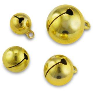 Schellen, rund, ø ca.18 mm, 3 Stück, gold,