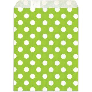 Geschenktüte, grün, Punkte, 13x16,5cm, 25 Stück,