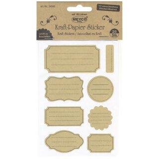 Kraftpapier Sticker Formen mit Linien, Vier Bögen mit insgesamt 26 Sticker (13 verschiedene Motive) p. SB-Btl.