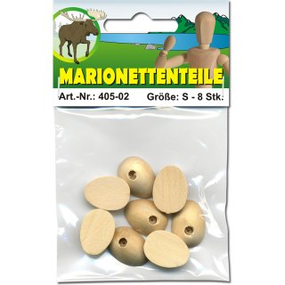 Marionettenfüße aus Holz, 6 Stk. p.SB-Btl., Gr.:M,