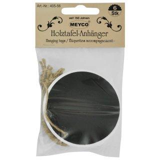 Holztafel-Anhänger  inkl. Band, 6 Stck. -rund-,  Ø 6cm