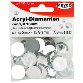 Acryl-Diamanten, Ø 18mm, 15g  (ca. 25 Stück), kristall