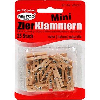 Mini-Zierklammern aus Holz, 25mm, natur, 25 Stück,