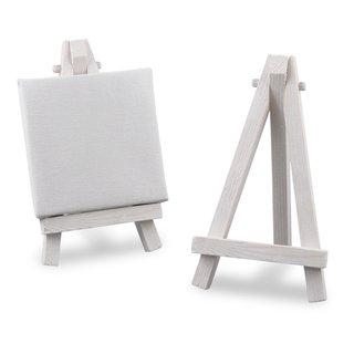 Deko-Mini-Staffelei für Tischkarten, weiß, 1 Stück, Weiße Mini-Staffelei aus Holz für Tischkarten, Bilder etc. Höhe: 11,5cm, Breite 7cm, Tiefe: 5,5cm