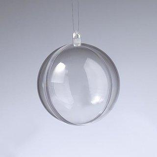 Kunststoffkugel, glasklar, teilbar (PS), 60 mm,