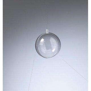 Kunststoffkugel, glasklar, teilbar (PS), 70 mm,