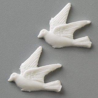 Wachsdekor, weiß, Taube, 30 mm, 2 Stk.