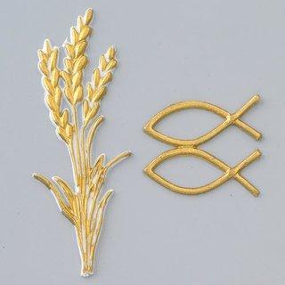 Wachsdekor, gold, Ähre + Christliche Fische, 90 x 30 mm, 40 x 15 mm, 3 - teilig