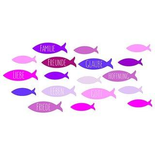Wachsdekor, rot, Fische / Familie,Freunde…, 80 x 60 mm, 1 Stk.
