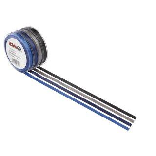 Satin-Band, grau, 6 mm, Rol. à 25 m