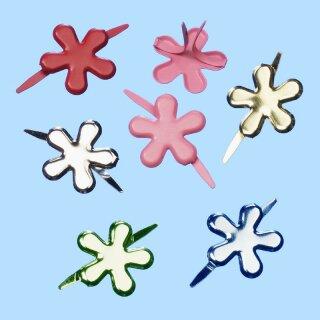 CREApop® Deko-Verschluss Blume silber, 13 mm, Btl. à 9 St.