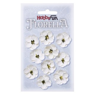 FLORELLA-Blüten aus Maulbeer-Papier, 2,5 cm, weiss, Btl. à 10 St.