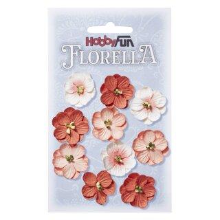 FLORELLA-Blüten aus Maulbeer-Papier, 2,5 cm, pfirsich, Btl. à 10 St.