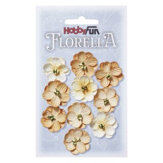 FLORELLA-Blüten aus Maulbeer-Papier, 2,5 cm, beige, Btl. à 10 St.