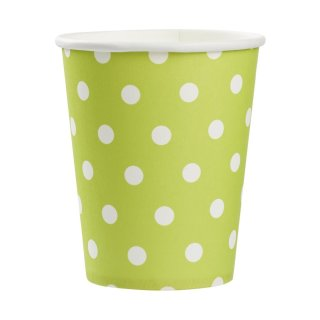 Party-time Trink-Becher 250 ml, grün-weisse Punkte, à 10 St.