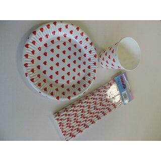 Party-time Papp-Teller 18,5 cm, weiss-rote Herzen, Btl. à 10 St.