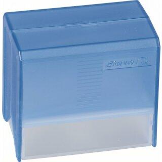 Karteibox A8 gefüllt blau transpar
