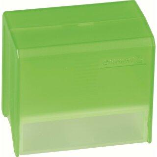 Karteibox A8 gefüllt grün transpar