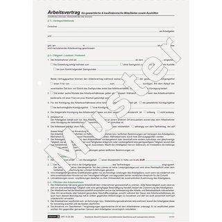 Baier & Schneider Vertragsformular Arbeitsvertrag gewerblich, selbstdurchschreibend, A4, 2 x 2 Bla (ABVK)