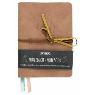 Notizbuch Velours mit Verschlussband, 3 Farben, FSC