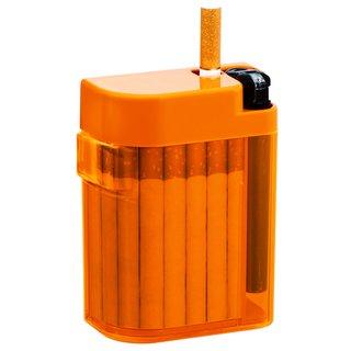 Magic Smoking Box orange,Zigarettenetui,Zigarettenbox,Zigi Box,Kippenbox,inkl. Feuerzeug - Etui